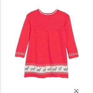 Baby boden red sweater dress with lamas